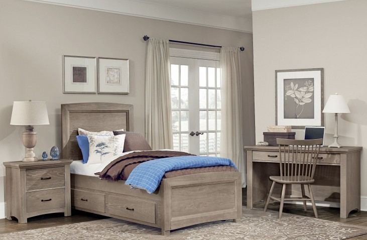 Transitions Driftwood Oak Two Side Storage Panel Bedroom Set