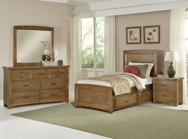 Transitions Dark Oak Youth One Side Storage Panel Bedroom Set