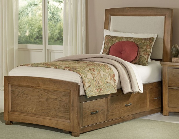 Transitions Dark Oak Twin Two Side Storage Upholstered Panel Bed