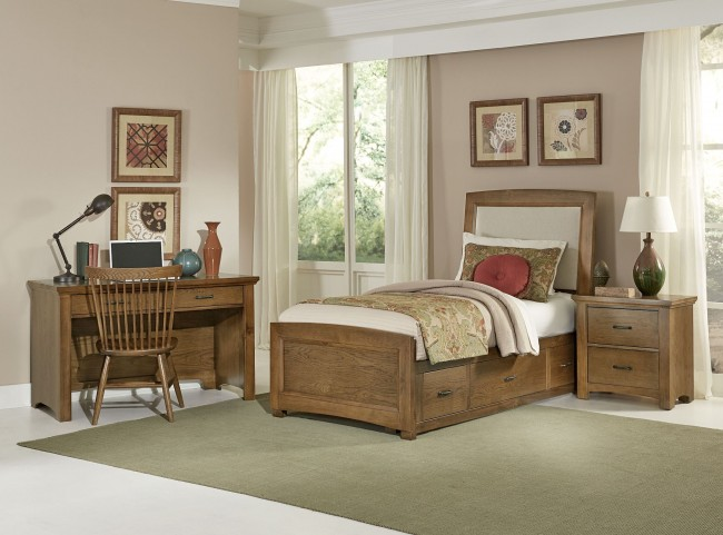 Transitions Dark Oak Youth Two Side Storage Upholstered Panel Bedroom Set