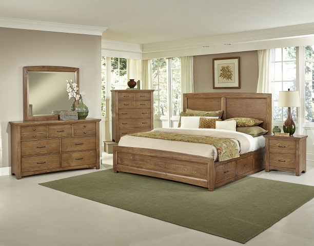 Transitions Dark Oak Two Side Storage Panel Bedroom Set