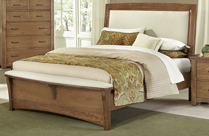 Transitions Dark Oak King Upholstered Panel Bed