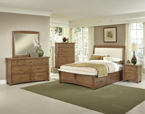 Transitions Dark Oak Two Side Storage Upholstered Panel Bedroom Set