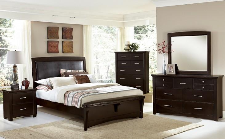 Transitions Merlot Upholstered Panel Bedroom Set