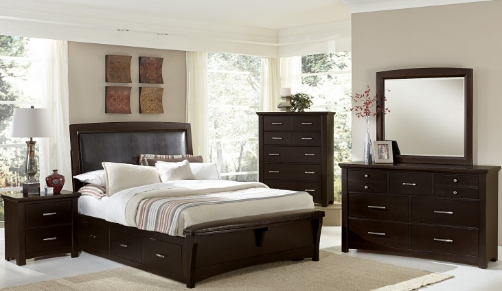 Transitions Merlot Two Side Storage Upholstered Panel Bedroom Set
