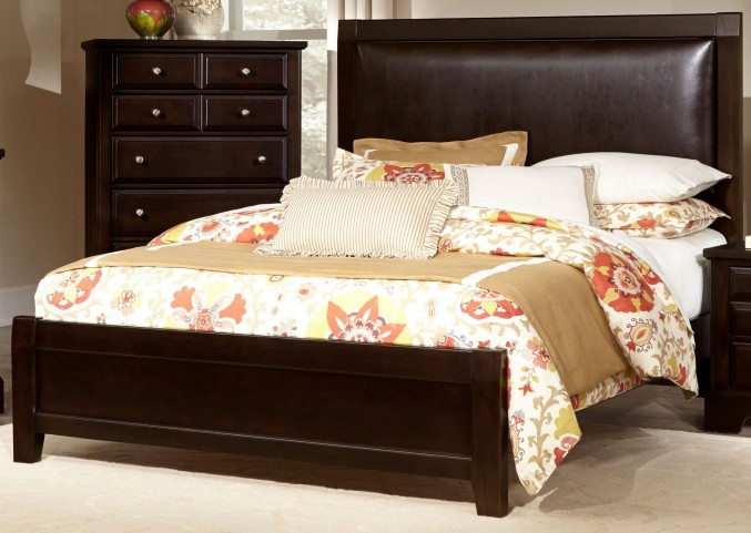 Bedford Merlot King Upholstered Panel Bed