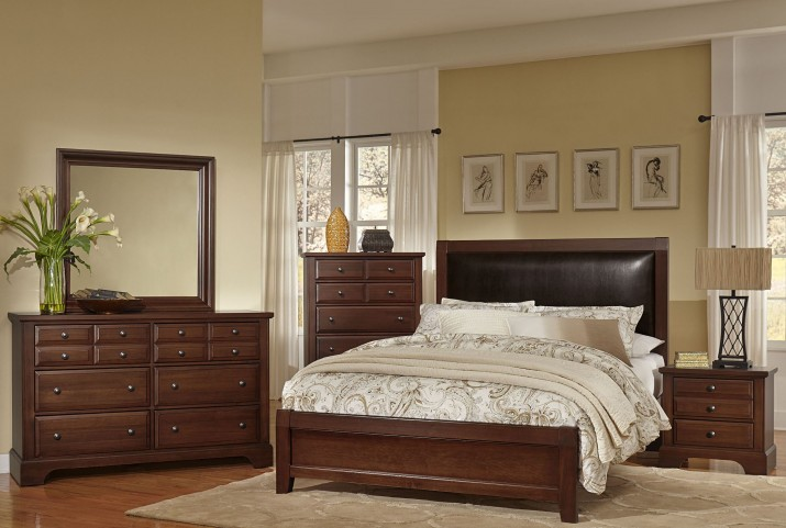 Bedford Cherry Upholstered Panel Bedroom Set