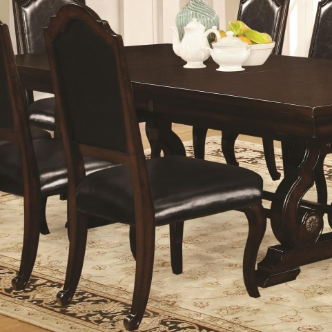 Bedford Dark Mahogany Upholstered Dining Side Chair Set of 2