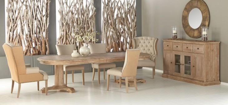 Belmont Stone Wash Oval Extendable Dining Room Set with Avery Oatmeal Linen Dining Chairs