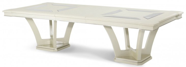 Beverly Boulevard Pearl Caviar Rectangular Extension Dining Table