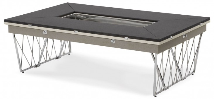 Beverly Boulevard Black & Gray Caviar Rectangular Folding Cocktail Table