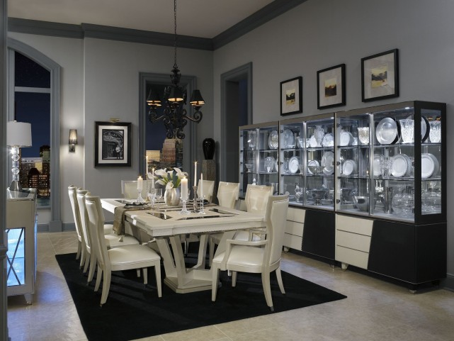 Beverly Boulevard Pearl Caviar Rectangular Extension Dining Room Set