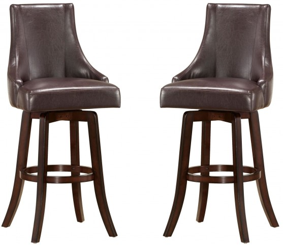 Brooks Brown Swivel Bar Chair Set of 2