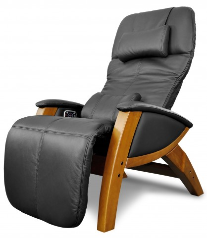 Svago Black Leather Benessere Chair With Honey Wood Legs
