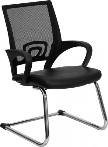 Black Leather Office Sled Base Side Chair