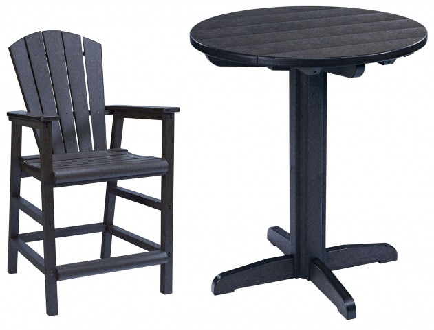 "Generations Black 32"" Round Pedestal Pub Set"