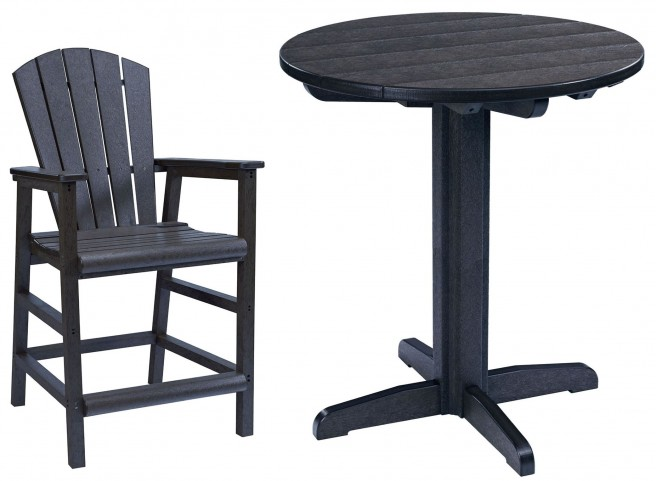 "Generations Black 37"" Round Pedestal Pub Set"