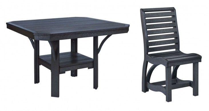 "St Tropez Black 45"" Square Dining Room Set"