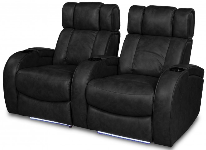 Andromeda Black Leather Gel Power Reclining 2 Seats Home Theater Seating