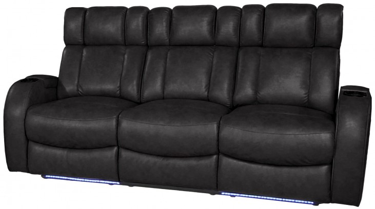 Andromeda Black Leather Gel Power Reclining Sofa