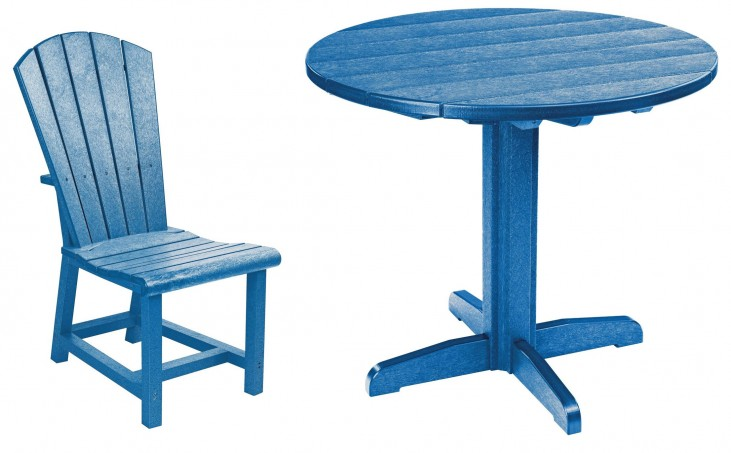 "Generations Blue 37"" Round Pedestal Dining Room Set"