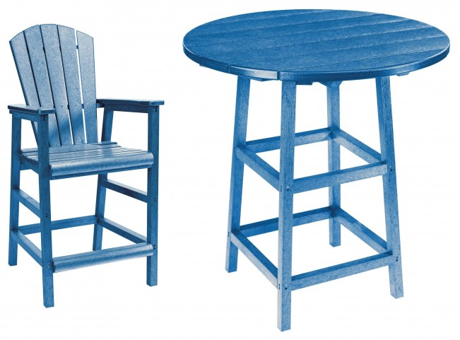 "Generations Blue 32"" Round Leg Pub Set"
