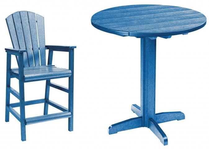 "Generations Blue 37"" Round Pedestal Pub Set"
