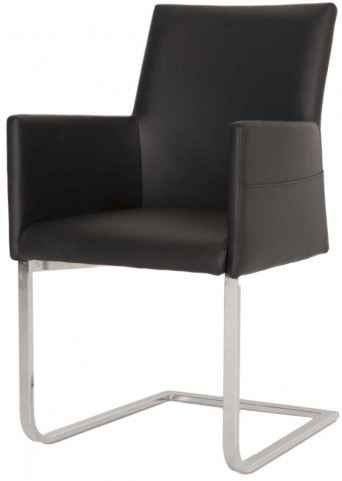 Regis Black Leather Bo Dining Chair