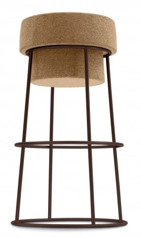 Bouchon Cork Counter Stool with Bronze Frame