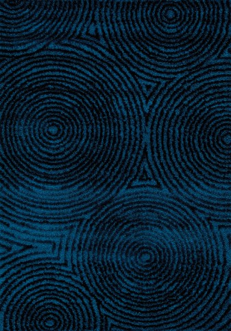 Boulevard Radical Black/Blue Circles in Glitz Low Pile Shag Large Rug