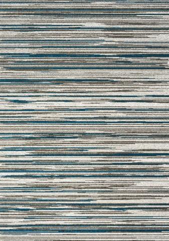 Boulevard Cream/Blue Stripes Glitz Low Pile Shag Medium Rug