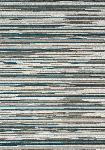 Boulevard Cream/Blue Stripes Glitz Low Pile Shag Large Rug