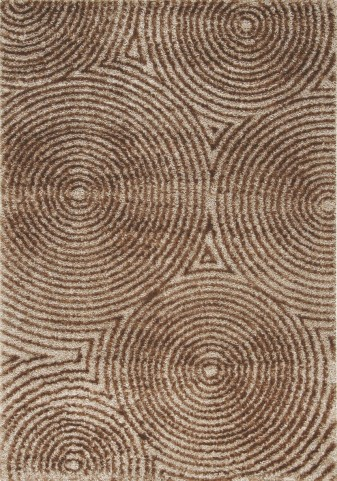 "Boulevard Radical Brown Circles Glitz Low Pile Shag 63"" Rug"