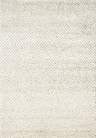 "Boulevard Off-White Chevron Glitz Low Pile Shag 94"" Rug"