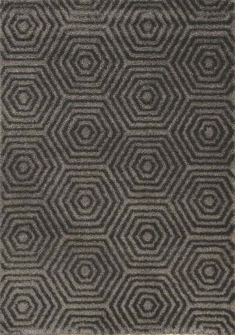 "Boulevard Dark Grey Geometric Glitz Low Pile Shag 94"" Rug"