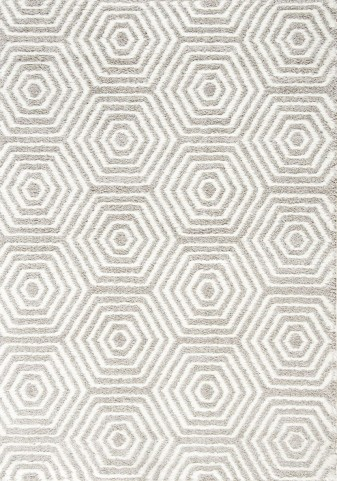 "Boulevard Light Grey White Geometric Glitz Low Pile Shag 94"" Rug"