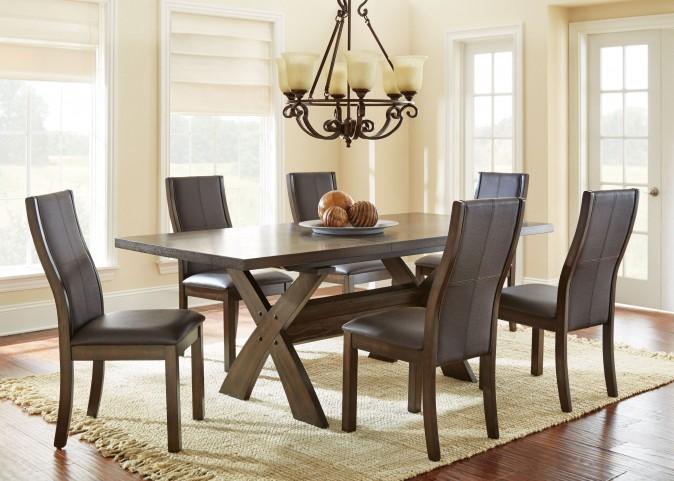 Bernini Chocolate Brown Extendable Rectangular Dining Room Set