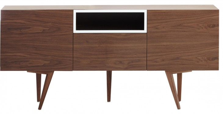 Branden Walnut Finish 4 Drawer Sideboard