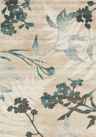 Breeze Cream/Brown/Blue Floral Medium Rug