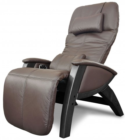 Svago Brown Leather Benessere Chair With Black Wood Legs