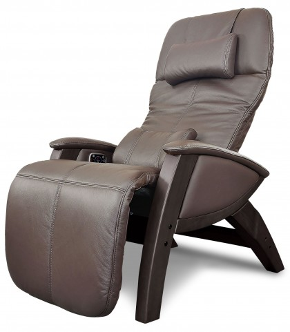 Svago Brown Leather Benessere Chair With Walnut Wood Legs