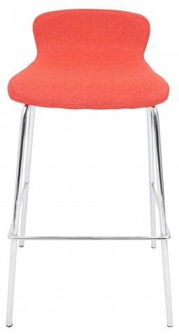 "Fabric Stackable 30"" Orange Barstool"