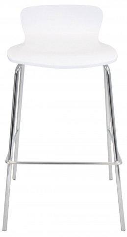 Wood Stackable White Barstool