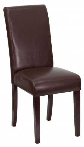 Dark Brown Upholstered Parson Chair