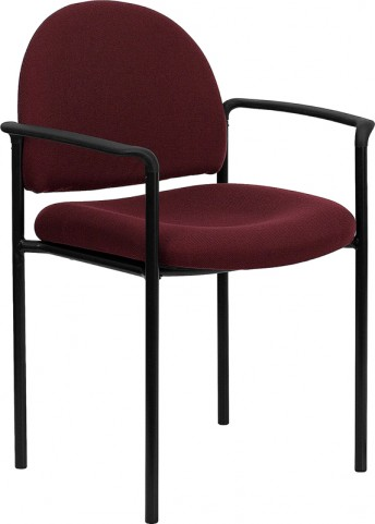 Burgundy Comfortable Stackable Steel Side Chair with Arms