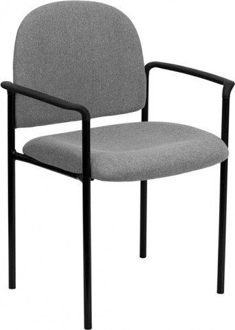 Gray Comfortable Stackable Steel Side Chair with Arms