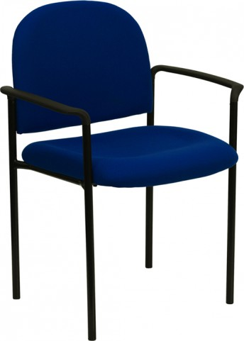 Navy Comfortable Stackable Steel Side Chair with Arms