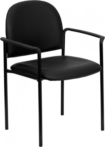 1000340 Black Comfortable Stackable Steel Side Chair with Arms
