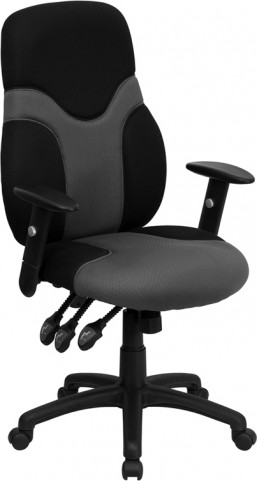 High Back Ergonomic Black & Gray Task Chair with Adjustable Arms