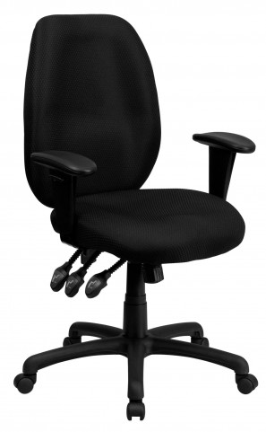 High Back Black Ergonomic Task Arm Chair
